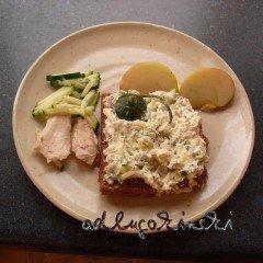 Frischkäse-Brotaufstrich Rezept mit Hühnerfleisch, Gurke, Apfel, Meerrettich