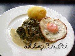 Mangold, Spiegelei und Kartoffeln