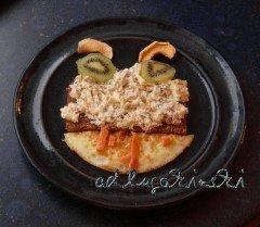 Frischkäse-Rezept mit Räucherlachs, Eiweiss, Kiwi, Trockenäpfeln