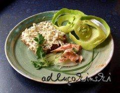 Frischkäse-Rezept mit Stremel-Lachs, Kohlrabi, Winterbirne, Petersilie, Schnittlauch, Senfkörnern
