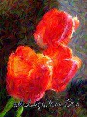 Gemälde mit 3 Tulpenblüten