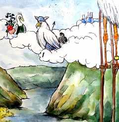 Wotan in der Zwickmühle - auf einer Seite Freia, auf der anderen Seite die Riesen | Karikatur von Christine Krauß