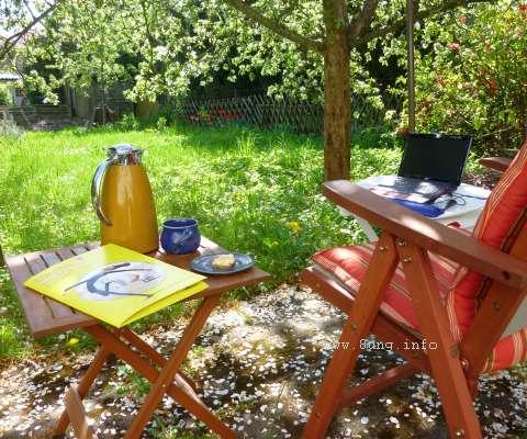 Arbeitsplatz im Garten