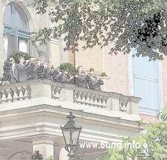 Fanfaren auf dem Balkon des Bayreuther Festspielhauses
