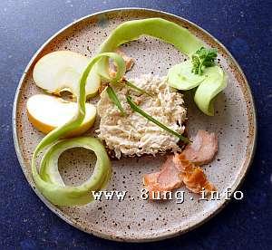 Frischkäse-Rezept mit Stremellachs, Sellerie, Kohlrabi, Sellerie, Apfel, Lorbeerblatt