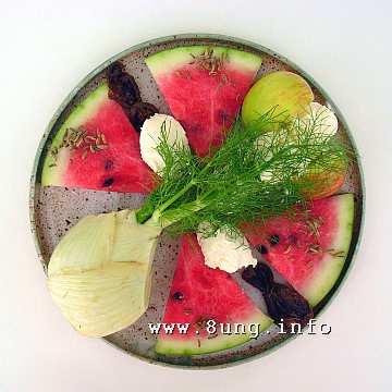 ☕ Rezept: Melone, Fenchel, Apfel, Dörrobst im Frischkäse | Kulturmagazin 8ung.info
