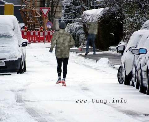 ☼ Wetter am 17. Januar 2016 – Jogger im Neuschnee | Kulturmagazin 8ung.info
