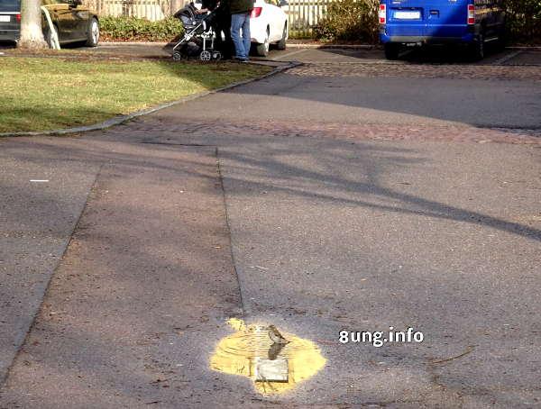Spatze in der Pfütze, Parkplatz