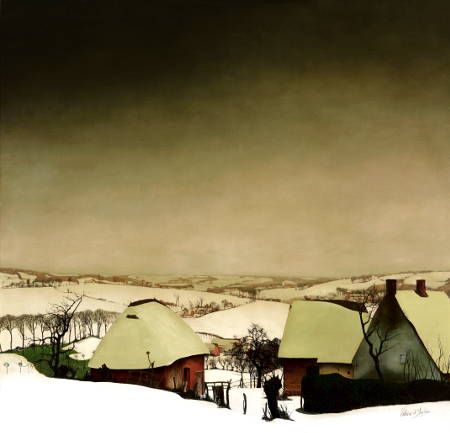 Valerius De Saedeleer Large Winter View with Farm, c. 1926 Oil on canvas, 130 x 125 cm Courtesy Galerij Oscar De Vos
