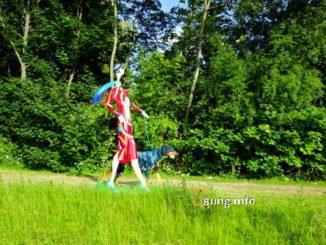 Schilderkunst: Dame mit Dobermann
