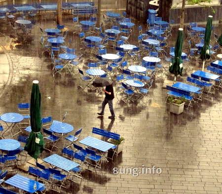 Strassencafe: Leere blaue Tische bei Regen