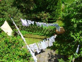 Wäscheleine bei Wind