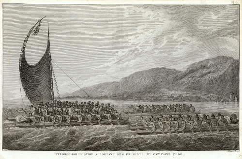 hawaii.57_John Webber_Tereoboo, King of Owyhee, bringing Presents to Capt. Cook, Paris, 1785, Copyright Niedersächsisches Landesmuseum Hannover_1500px