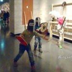 Kinder als Ritter verkleidet im Landesmuseum Stuttgart