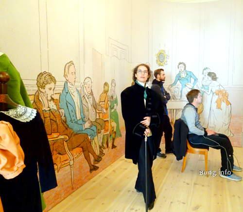 Fanny Hensel im Mendelssohn-Haus in Leipzig: Herrenkleidung im Bidermeier - stilvoll mit Gehstock