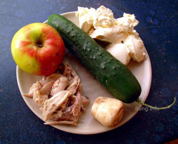 Hühnerfleisch, Gurke, Apfel, Meerrettich mit Frischkäse