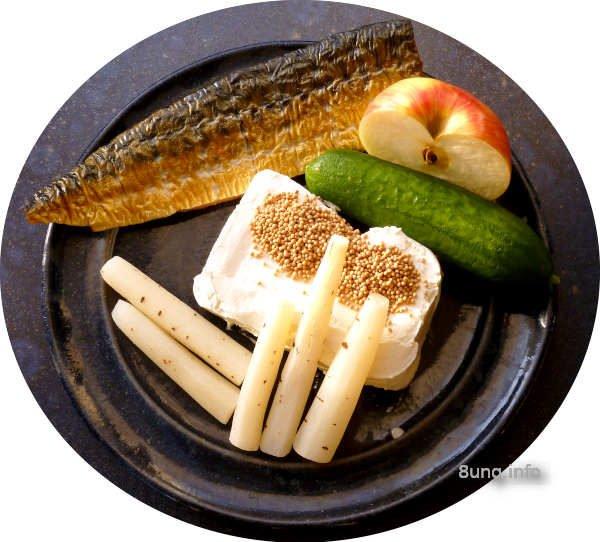 Makrele, Schwarzwurzel, Gurke, ApfelSenfkörner