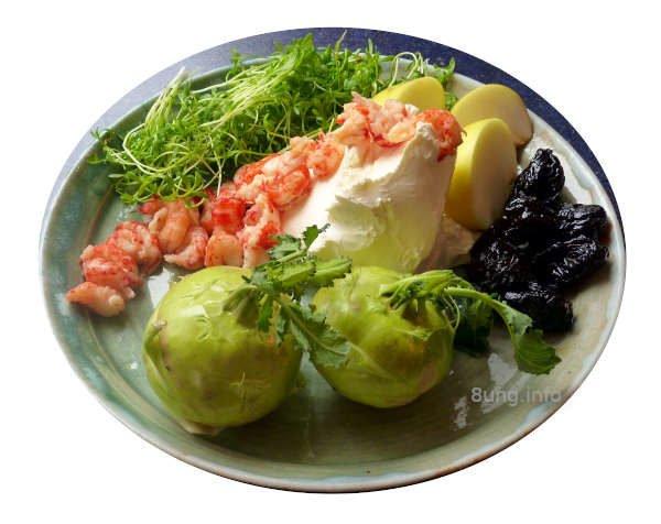 ☕ Rezept: Flusskrebse, Kohlrabi, Kresse, Apfel, Backpflaumen mit Frischkäse | Kulturmagazin 8ung.info
