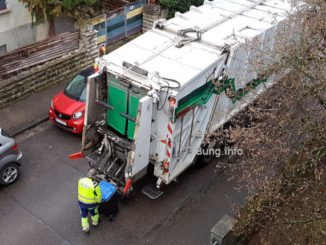 Müllabfuhr von oben gesehen