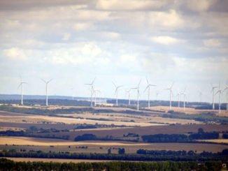 Blick auf Büsche, Felder und Windräder