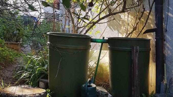 Regentonnen im Garten