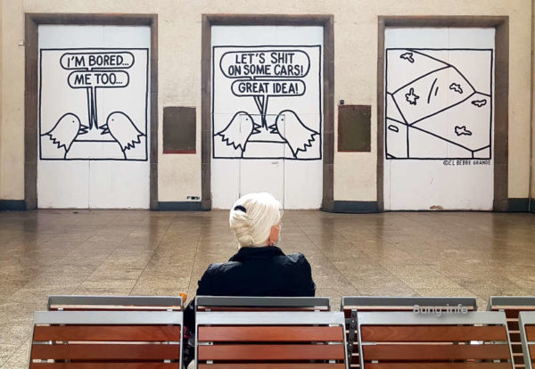Graffiti im Bahnhof Stuttgart - 3x Humor - Cartoon