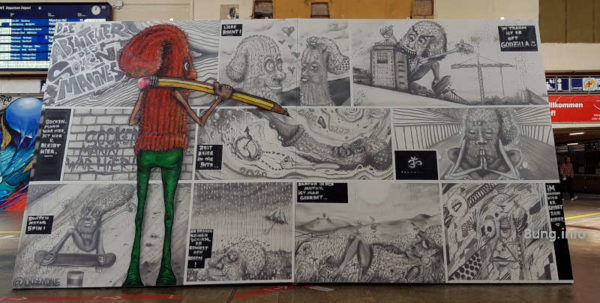 Graffiti im Bahnhof Stuttgart - schwarzweißer Humor mit buntem Zeichner
