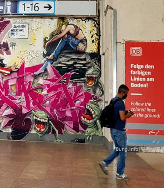 Graffiti im Bahnhof Stuttgart - Monster und Furie