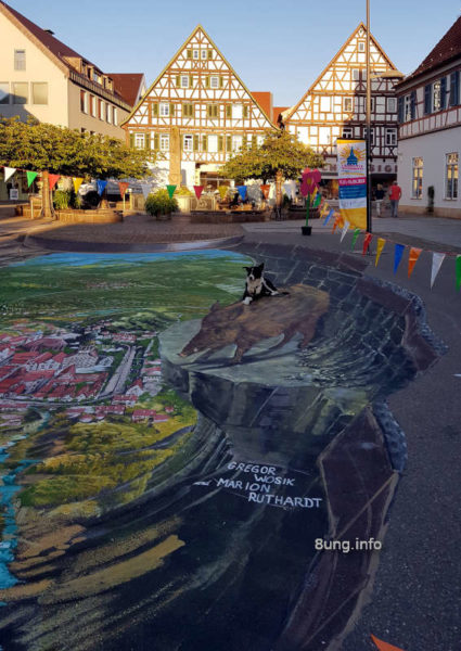 Strassenmalerei auf dem Kirchheimer Marktplatz