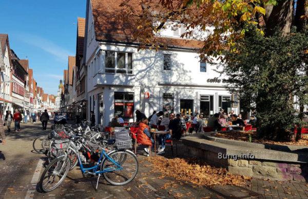 Strassencafe, Fahrräder, Fussgängerzone