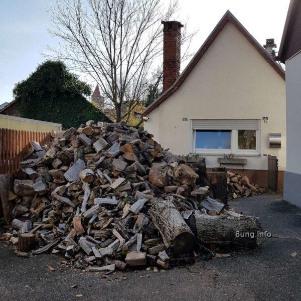 strenger Winter, Haufen mit Brennholz