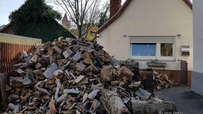 Haufen mit Brennholz