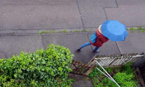 Blick von oben auf Frau mit bleuem Schirm
