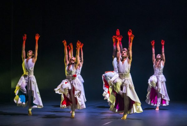 Michael Marquez, Vanessa Vince-Pang, Carlos J. Martinez, Prentice Whitlow and Natalie Alleston in Phoenix Dance Theatre and Opera North's The Rite of Spring choreographed by Jeanguy Saintus. © Tristram Kenton