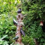 Keramikvögel am Baumstamm