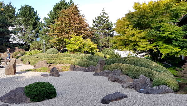 Meereswogen aus Kies im Japangarten von Bad Langensalza