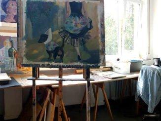 """Bild """"Frau mit Dackel"""" von Silja Nawrath"""